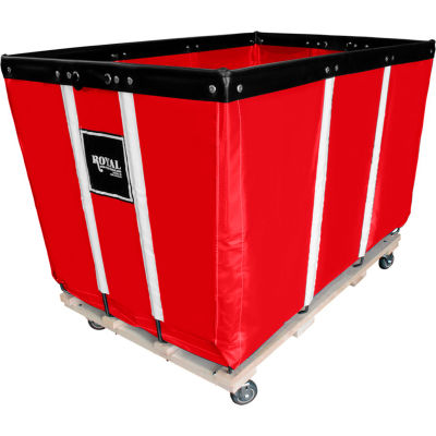 "20 BU-Standard-Duty Basket Trucks By Royal - Vinyl Liner - 32""Wx48""Dx36""H 4 Swivel Casters-Red"