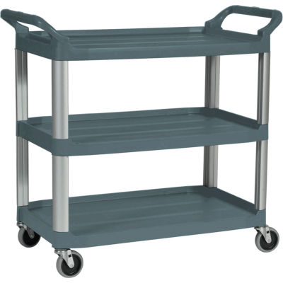 "Rubbermaid® Xtra™ Service Cart, Aluminum Posts, 3 Shelf, 40-3/4""Lx20""W, Gray"