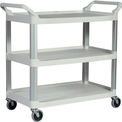 "Rubbermaid® Xtra™ Service Cart, Aluminum Posts, 3 Shelf, 40-3/4""Lx20""W, White"