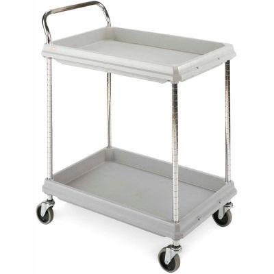 "Metro Deep-Ledge Utility Cart With Chrome Posts, 2 Shelf, 32""Lx21-1/2""W, Light Gray"