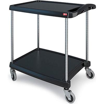"""Metro myCart™ Utility Cart With Chrome Posts, 2 Shelf, 34-3/8""""Lx23-7/16""""W, Black"""