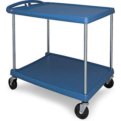 Metro myCart™ 2-Shelf Utility Cart with Chrome-Plated Posts - 40-1/4 x 27-11/16- Blue