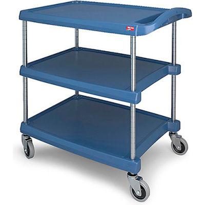 """Metro myCart™ Utility Cart With Chrome Posts, 3 Shelf, 34-3/8""""Lx23-7/16""""W, Blue"""