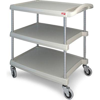 """Metro myCart™ Utility Cart With Chrome Posts, 3 Shelf, 34-3/8""""Lx23-7/16""""W, Gray"""