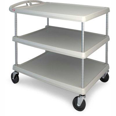 """Metro myCart™ Utility Cart With Chrome Posts, 3 Shelf, 40-1/4""""Lx27-11/16""""W, Gray"""