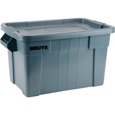 Rubbermaid 20 Gallon Brute Tote with Lid FG9S3100GRAY - 27-7/8 x 17-3/8 x 15-1/8 - Gray - Pkg Qty 6