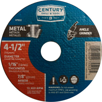 "Century Drill 75522 Cutting Wheel 4-1/2"" x 7/8"" Aluminum Oxide"