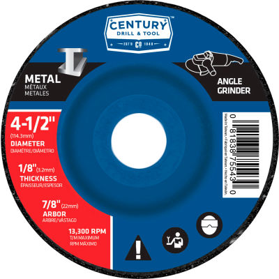 "Century Drill  75543  Depressed Center Grinding Wheel 4-1/2"" x 7/8""  Type 27 Aluminum Oxide"