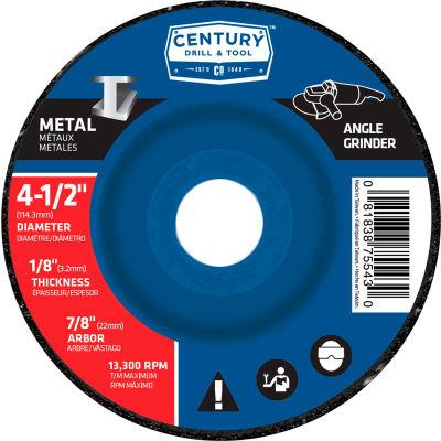 "Century Drill  75543  Depressed Center Grinding Wheel 4-1/2"" x 7/8""  Type 27 Aluminum Oxide"