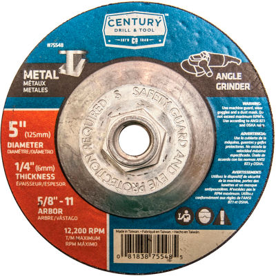 "Century Drill  75548  Depressed Center Grinding Wheel 5"" x 5/8-11""  Type 27 Aluminum Oxide"