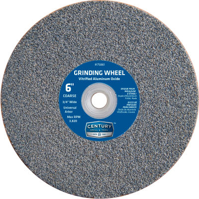"Century Drill 75861 Grinding Wheel 6"" Dia. Universal Arbor 36 Grit Aluminum Oxide"