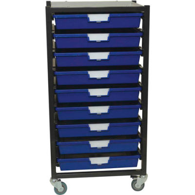 """StorSystem Metal Tote Cart CE2301PR-9S - 9 Extra Wide Red Totes 21-7/8"""" x 17-7/8"""" x 40-3/4"""""""