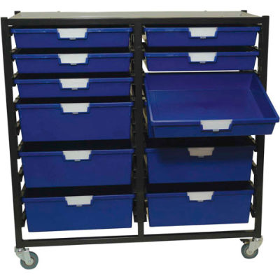 """StorSystem Metal Tote Cart CE2303LG-6S6D-12 Extra Wide  Light Gray Totes 41-3/4"""" x 17-7/8"""" x 40-3/4"""""""