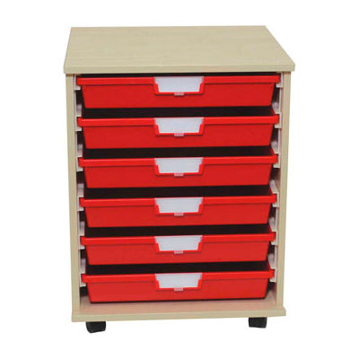 """StorSystem Wood Tote Cart CE2304PR-6S - 6 Extra Wide Red Totes 20-1/4"""" x 18-3/4"""" x 27-3/8"""""""