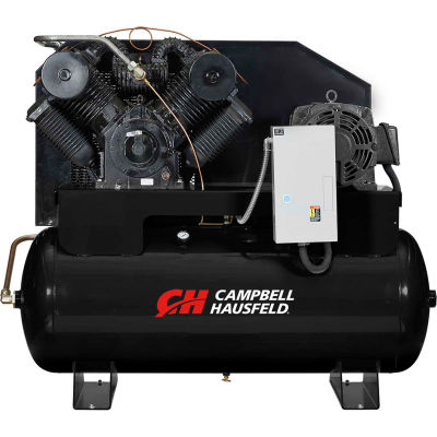 Campbell Hausfeld® CE9004,25 HP,Two-Stage Comp.,120 Gal,Horiz,175 PSI,87 CFM,3-PH 208-230/460V