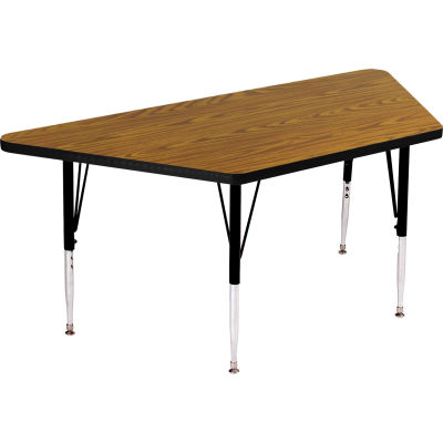 "Activity Tables, 48""L x 24""W, Standard Height, Trapezoid - Medium Oak"