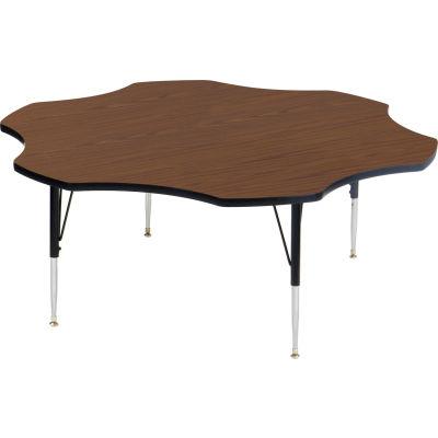 """Activity Tables, 60""""L x 60""""W, Standard Height, Flower - Walnut"""