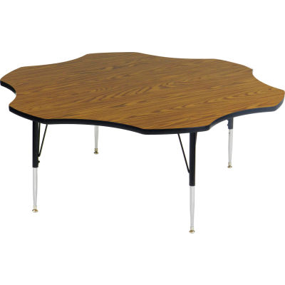 "Activity Tables, 60""L x 60""W, Standard Height, Flower - Medium Oak"