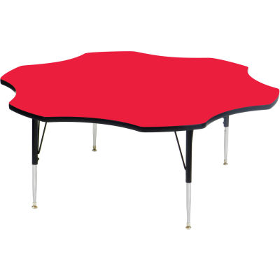 """Activity Tables, 60""""L x 60""""W, Standard Height, Flower - Red"""