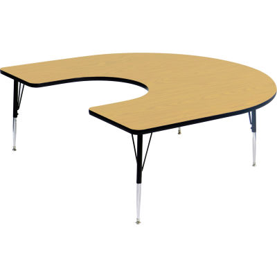 """Activity Tables, 66""""L x 60""""W, Standard Height, HorseShoe - Fusion Maple"""