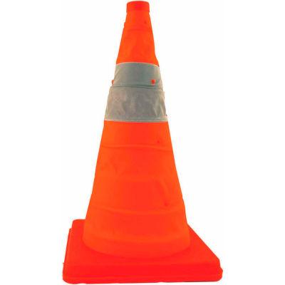 "Cortina 28"" Pack N Pop Collapsible Traffic Cone, Orange, Plastic Base, 5/Pack, 03-501-03"