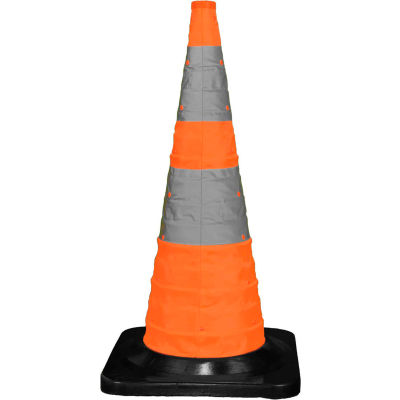 "Cortina 30"" Pack N Pop Collapsible Traffic Cone, 4 LED Lights, Orange, Black Rubber Base, 03-501-04"