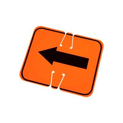 Cone Sign- Keep Left, Black On Orange W/ Arrow, One Sided - Pkg Qty 5