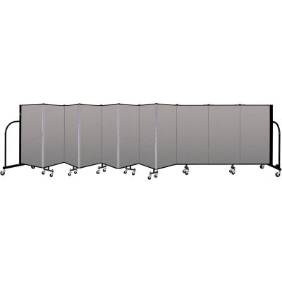 """Screenflex Portable Room Divider 11 Panel, 4'H x 20'5""""L, Vinyl Color: Gray"""