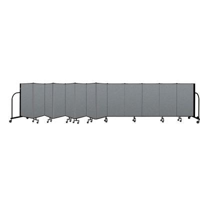 "Screenflex Portable Room Divider 13 Panel, 4'H x 24'1""L, Fabric Color: Gray"