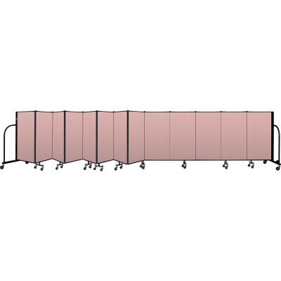 """Screenflex Portable Room Divider 13 Panel, 4'H x 24'1""""L, Vinyl Color: Mauve"""