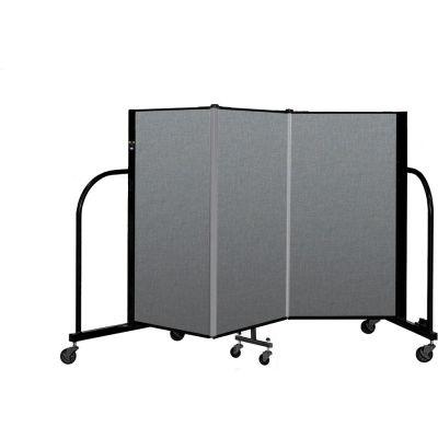 "Screenflex Portable Room Divider 3 Panel, 4'H x 5'9""L, Fabric Color: Gray"