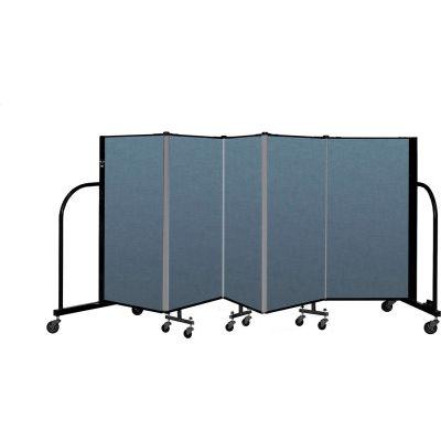 "Screenflex Portable Room Divider 5 Panel, 4'H x 9'5""L, Fabric Color: Blue"