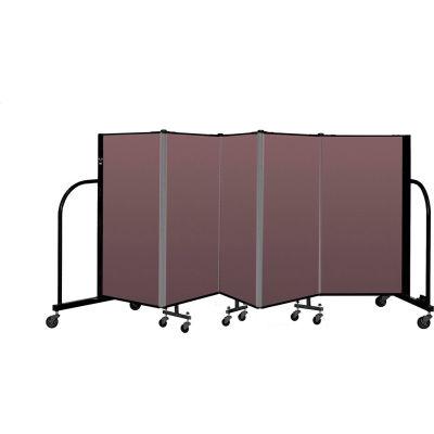 """Screenflex Portable Room Divider 5 Panel, 4'H x 9'5""""L, Fabric Color: Mauve"""