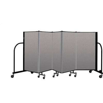 """Screenflex Portable Room Divider 5 Panel, 4'H x 9'5""""L, Vinyl Color: Gray"""