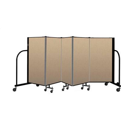 """Screenflex Portable Room Divider 5 Panel, 4'H x 9'5""""L, Vinyl Color: Oatmeal"""