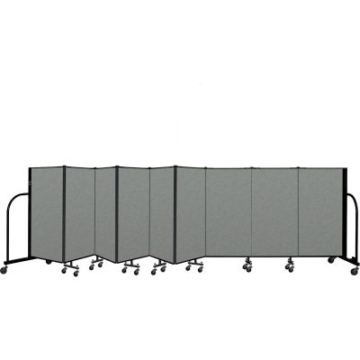 "Screenflex Portable Room Divider 9 Panel, 4'H x 16'9""L, Fabric Color: Gray"