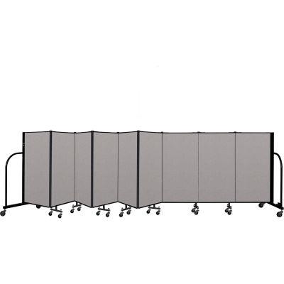 """Screenflex Portable Room Divider 9 Panel, 4'H x 16'9""""L, Vinyl Color: Gray"""