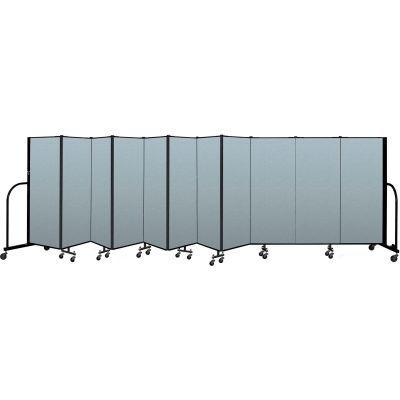 "Screenflex Portable Room Divider 11 Panel, 5'H x 20'5""L, Vinyl Color: Blue"