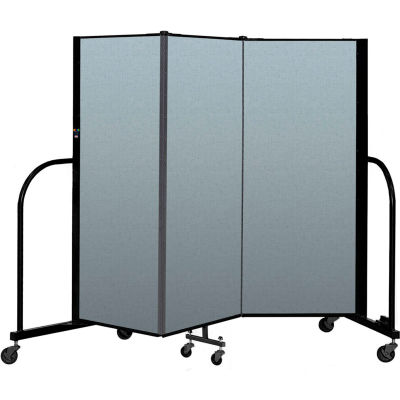 "Screenflex Portable Room Divider 3 Panel, 5'H x 5'9""L, Vinyl Color: Blue"