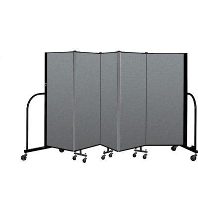 "Screenflex Portable Room Divider 5 Panel, 5'H x 9'5""L, Fabric Color: Gray"