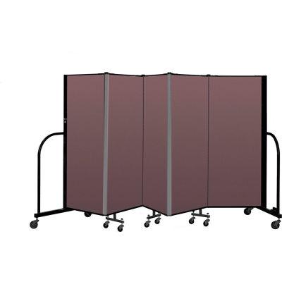 """Screenflex Portable Room Divider 5 Panel, 5'H x 9'5""""L, Fabric Color: Mauve"""