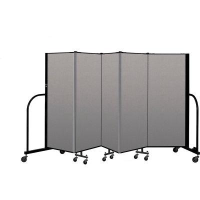 """Screenflex Portable Room Divider 5 Panel, 5'H x 9'5""""L, Vinyl Color: Gray"""