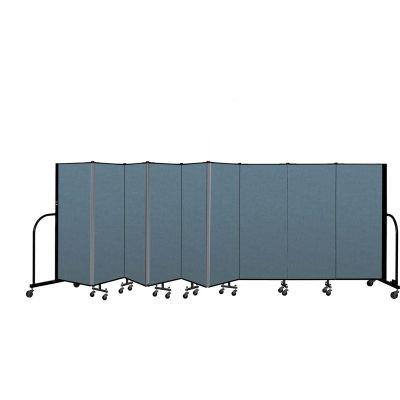 "Screenflex Portable Room Divider 9 Panel, 5'H x 16'9""L, Fabric Color: Blue"