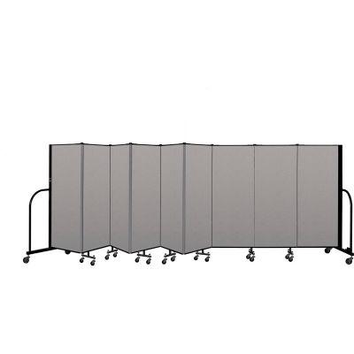 """Screenflex Portable Room Divider 9 Panel, 5'H x 16'9""""L, Vinyl Color: Gray"""