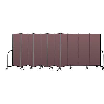 """Screenflex Portable Room Divider 11 Panel, 6'H x 20'5""""L, Fabric Color: Mauve"""