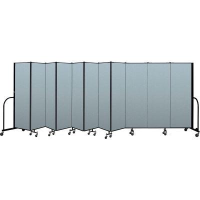 "Screenflex Portable Room Divider 11 Panel, 6'H x 20'5""L, Vinyl Color: Blue"