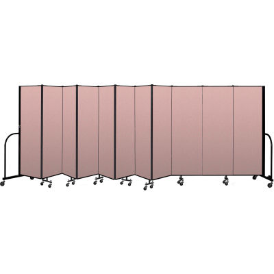 "Screenflex Portable Room Divider 11 Panel, 8'H x 20'5""L, Vinyl Color: Mauve"