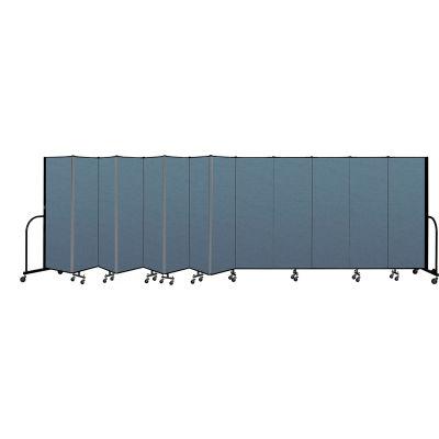 "Screenflex Portable Room Divider 13 Panel, 6'H x 24'1""L, Fabric Color: Blue"