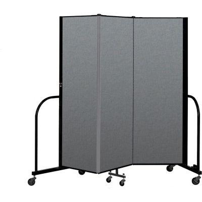 "Screenflex Portable Room Divider 3 Panel, 6'H x 5'9""L, Fabric Color: Gray"