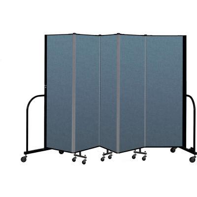 "Screenflex Portable Room Divider 5 Panel, 6'H x 9'5""L, Fabric Color: Blue"